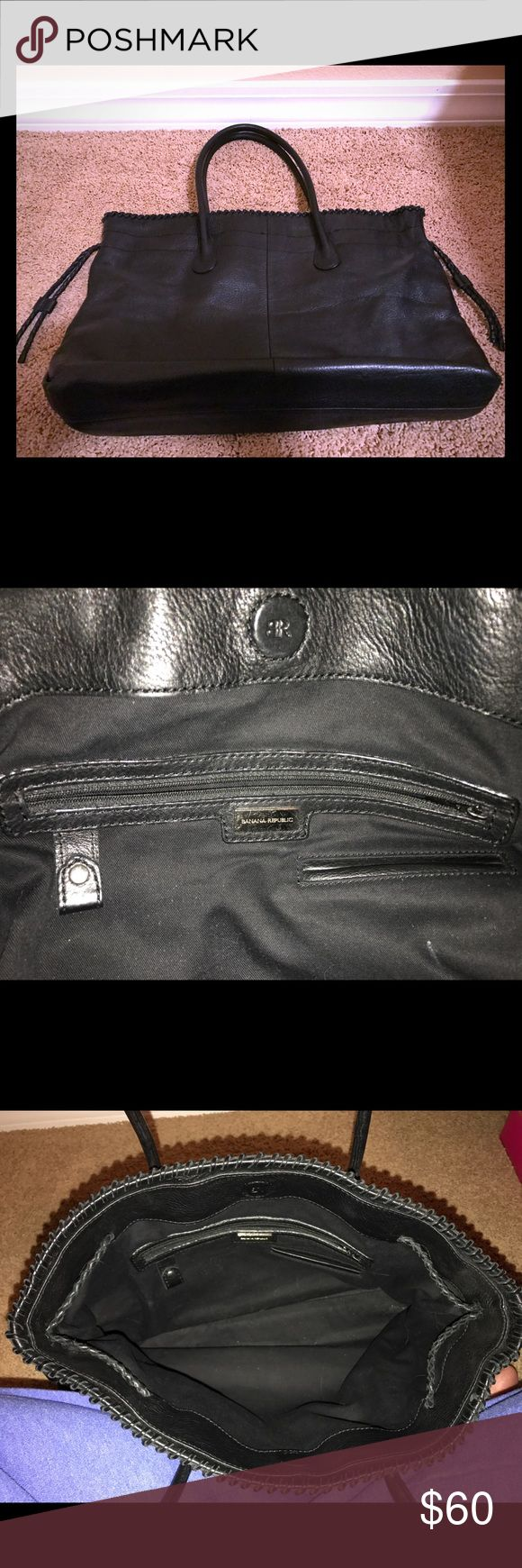Banana Republic Black Leather Tote Bag Purse Simple black leather tote bag from BR. Great for traveling. Excellent condition. No rips, stains, holes or tears. Banana Republic Bags Totes