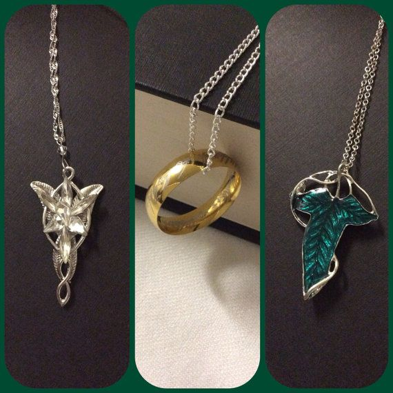 Lord of the Rings Necklaces ~ Hmm.... Out of all of them I think I want the Fellowship broach the most followed by Arwen's necklace and then the Ring^.^