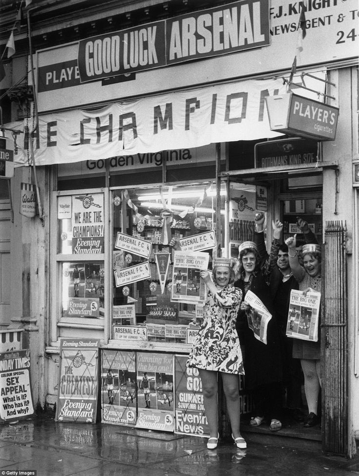 This newsagents near Arsenal's famous old Highbury ground is really getting in the FA Cup final spirit in 1971, before the Gunners clashed with Liverpool at Wembley. An extra-time winner from Charlie George gave Arsenal a 2-1 win and sealed a memorable league and cup double