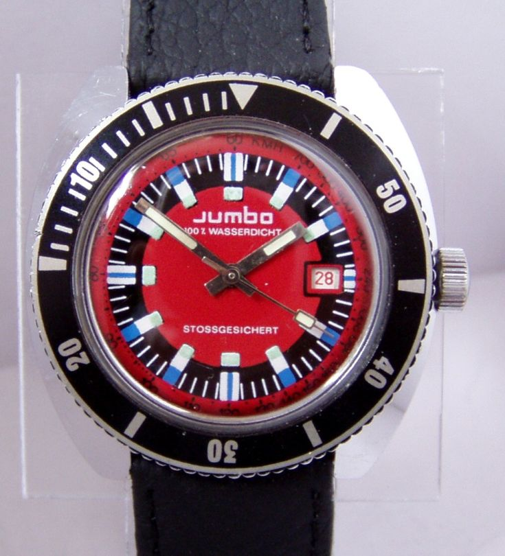 Jumbo branded Ruhla Divers Watch with Red Dial 24-33 Caliber marked 100% Waterproof and Shock Resistant