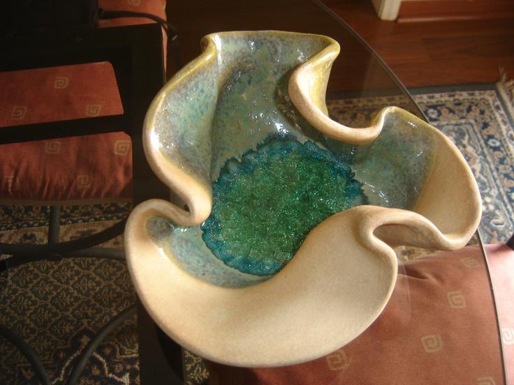 Fuente ceramica en gres esmaltada y con fondo de vidrio