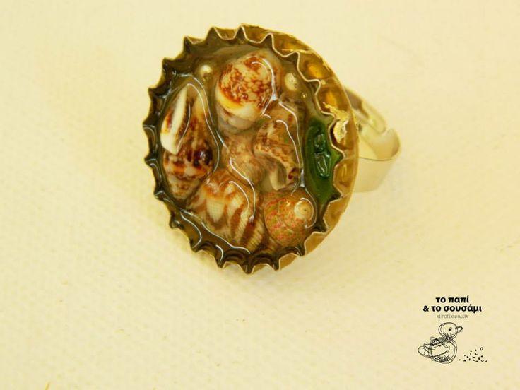 Shells in a bottle cap ring
