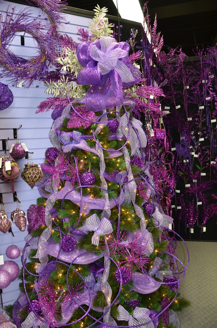 Purple decorated christmas trees - Christmas Tree Decorated With Purple
