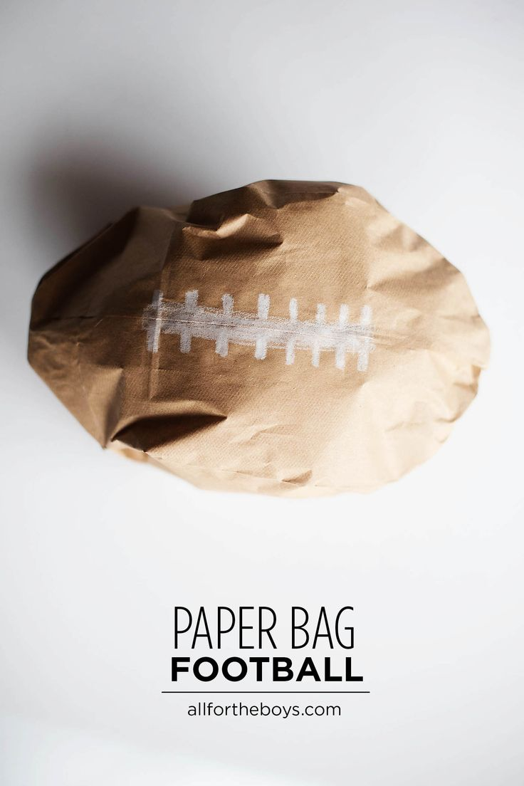 Paper bag football craft for kid                                                                                                                                                     More