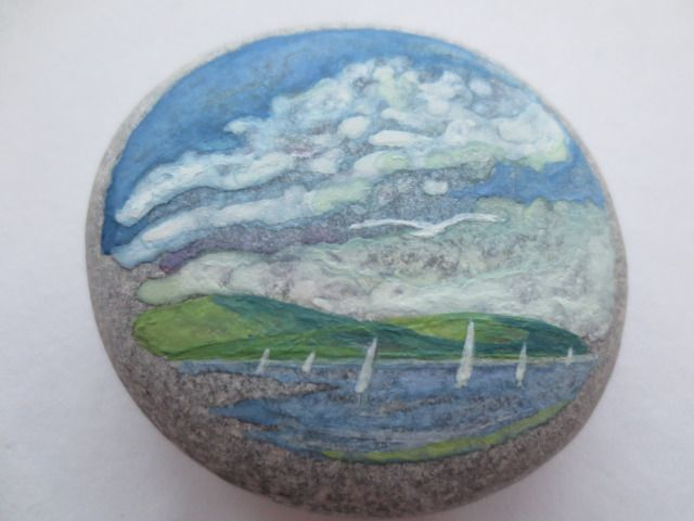 Watercolor seascapes on pebbles.How to/for sale.https://www.etsy.com/ie/listing/210243655/seascape-on-pebble55x55mmwatercolor?ref=shop_home_active_13