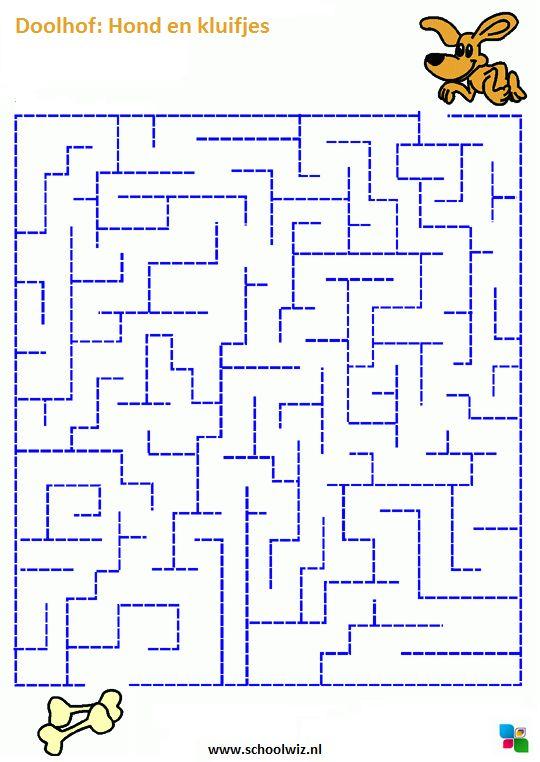 Doolhof puzzel. Zorg dat het hondje bij het bot komt. #puzzels #doolhof #schoolwiz