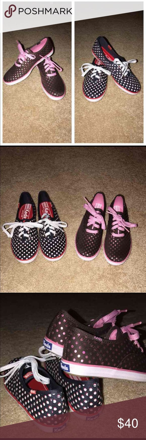 Keds Champion Dots Girls Youth Sneaker Keds Champion Dots Girls Youth Sneaker  Brown/Pink Polka Dot Sz 1 Navy/White Red Polka Sz 1  Original $35.00 Each Keds Shoes Sneakers