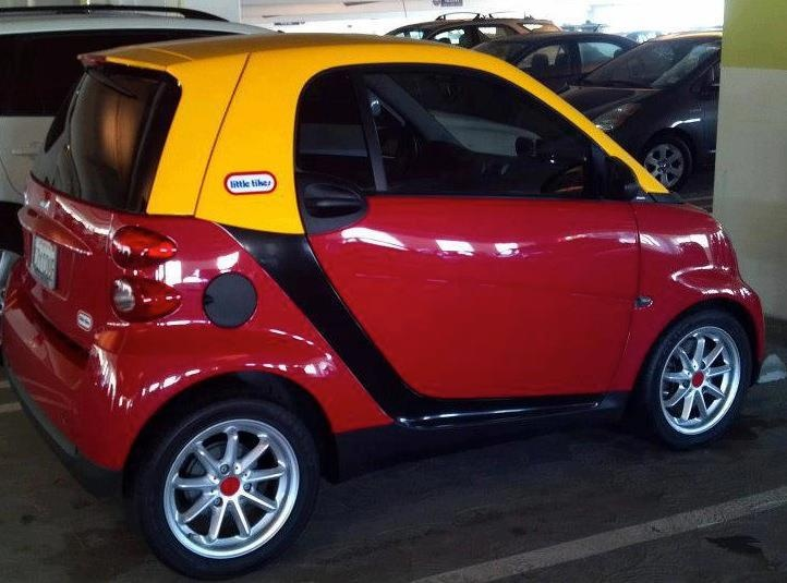 adult sized little tikes fisher price car from a smart car how awesome funny. Black Bedroom Furniture Sets. Home Design Ideas