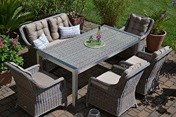 Gartenmobel Set Tisch Bank Und 4 Sessel Rattan Polyrattan