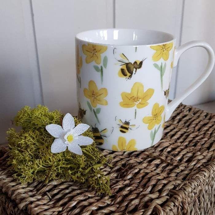 Gisela Graham Blue Daisy Floral Luggage Tag