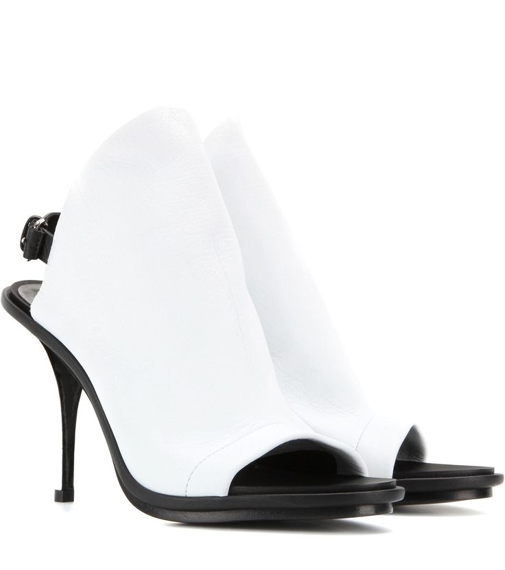 Schwarz-weiße Open-Toe-Stilettos aus Leder By Balenciaga