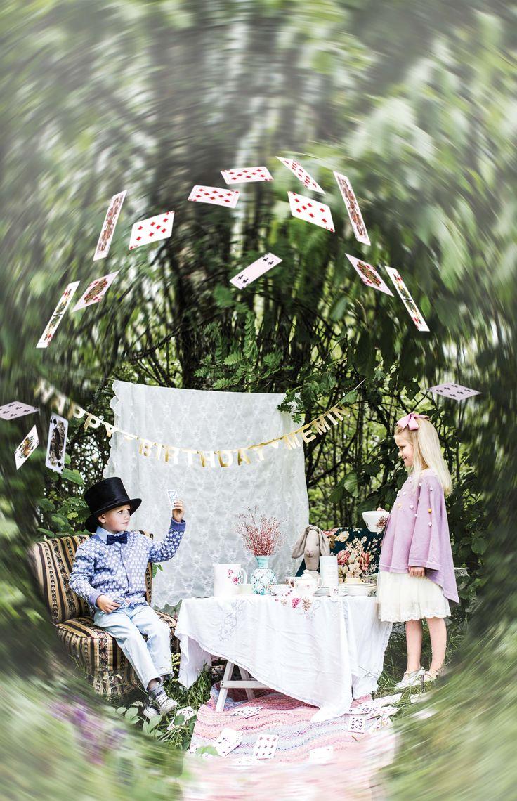 Memini children`s wear by Kristine Vikse, Norwegian design, organic cotton, baby and kids ss 2016. Baby girl, baby boy, sibling photo, Alice in wonderland, linen, cotton, checked dress, linen suit, prinsessefin, mushroom, tea party, Alice in wonderland, forest photo