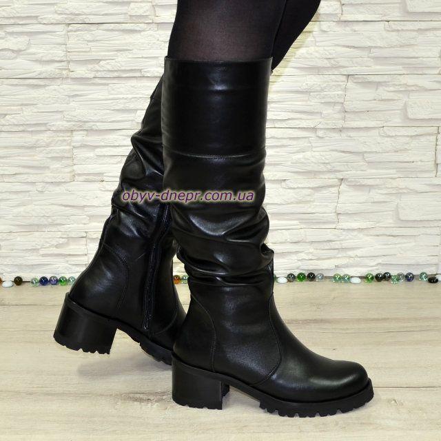 cea724a1aaba Сапоги черные зимние кожаные женские на каблуке | обувь | Сапоги ...