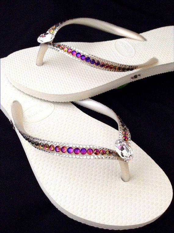 Custom cristal Havaianas Slim Flip Flops volcán arco iris