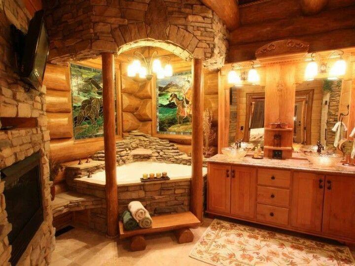 log home bathroom with stone tub pin my dream home log cabin rustic chic bathroom design - Log Cabin Bathroom Designs