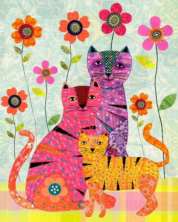 Cat Painting, Cat family Collage Painting by Sascalia | by sascalia