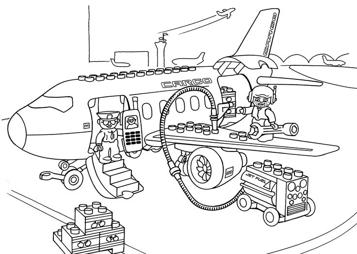 Lego Airport coloring page for kids, printable free. Lego Duplo