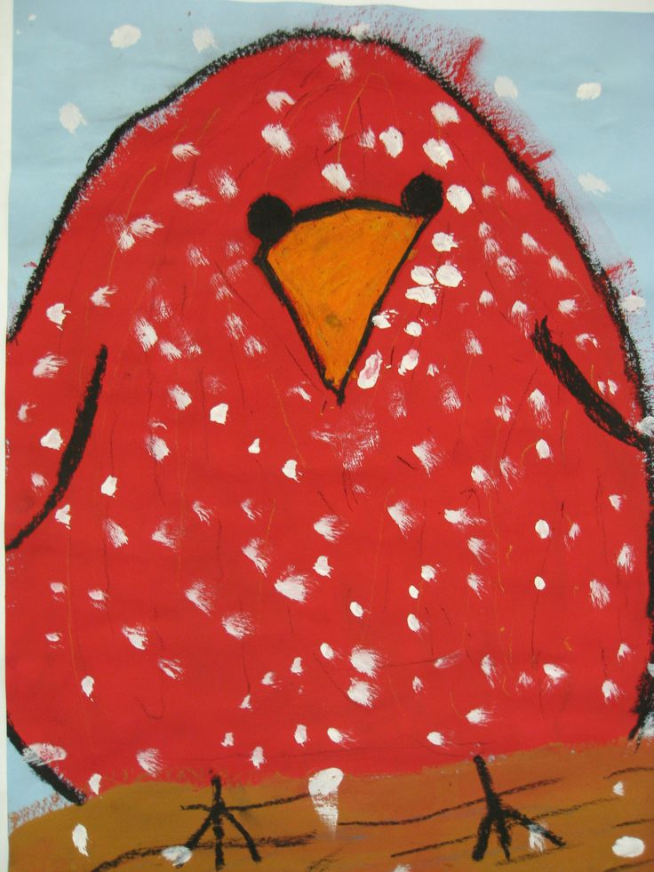 First grade Baby Cardinal painting outlined with oil pastels.  Easy and makes a great winter bulletin board.