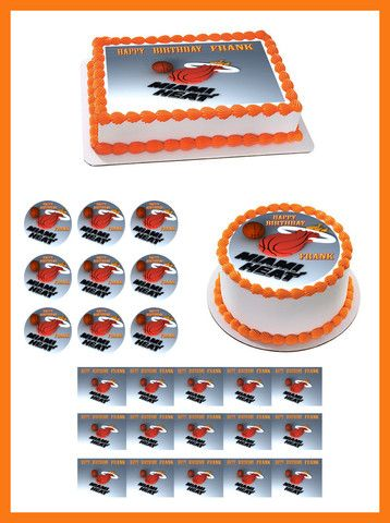Miami Heat Edible Birthday Cake Topper OR Cupcake Topper, Decor