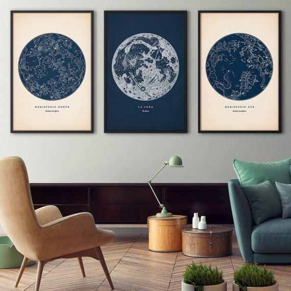 Astronomy print set of 3, Star map print, Star chart print, Constellations chart, Moon print, Astronomy wall decor, Constellation art
