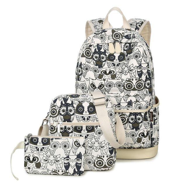 3 pçs/set Mochila Mulheres Animais Coruja Impressão Mochila Bookbags Lona Sacos de Mochilas Escolares para Adolescentes meninas Backbag Bagpack