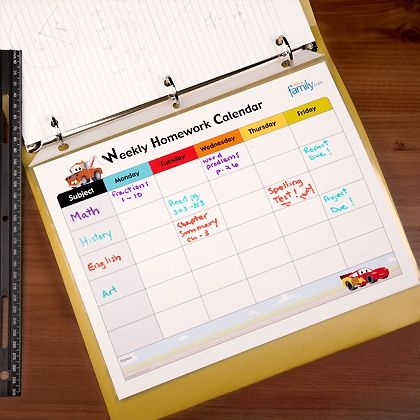 This Cars-inspired weekly homework calendar will keep your kids racing through the week! Find more back to school printables at Disney Family.