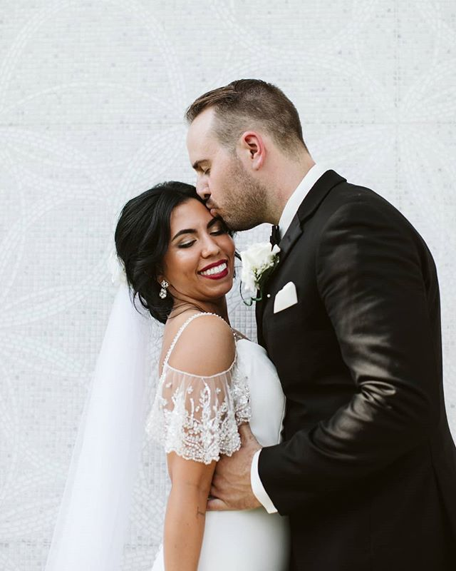 A Wsi Power Duo This Bride And Groom Both Chose Weddingshoppeinc To Dress Them For Th Wedding Bridesmaid Dresses Designer Bridesmaid Dresses Wedding Dresses