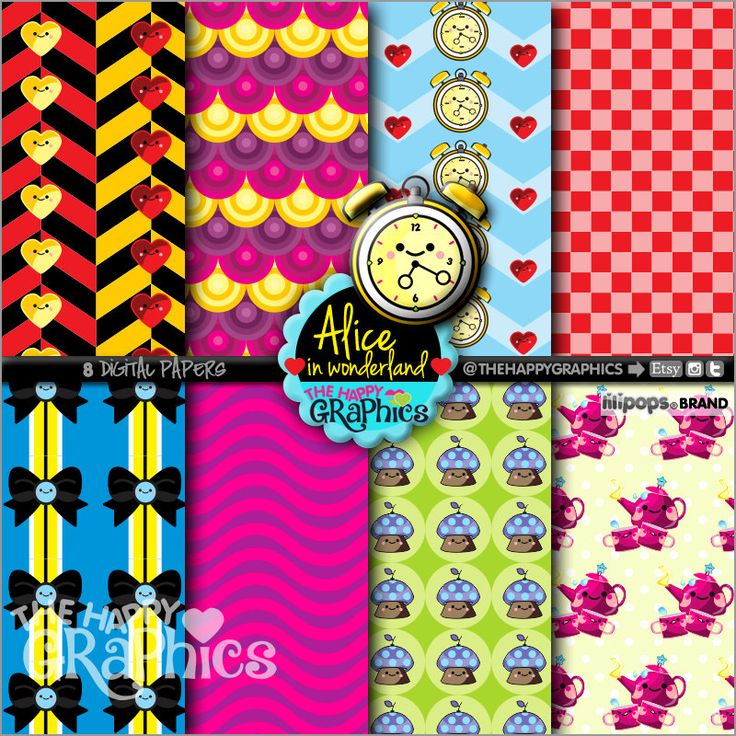 Alice Digital Paper, 80%OFF, COMMERCIAL USE, Printable Paper, Alice in Wonderland, Alice Decoration, Digital Paper Set, Alice Party