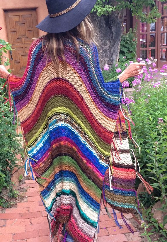 "LONG Handknit Womens Bohemian Festival Hippie Beach Poncho Cape Shawl (""For…"