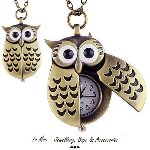 Stall & Craft Collective - Bronze Vintage Owl Pocket Watch Pendant - #5241