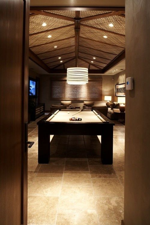 Man Cave Lighting Family Room Tropical With Vaulted Ceiling Pool Table
