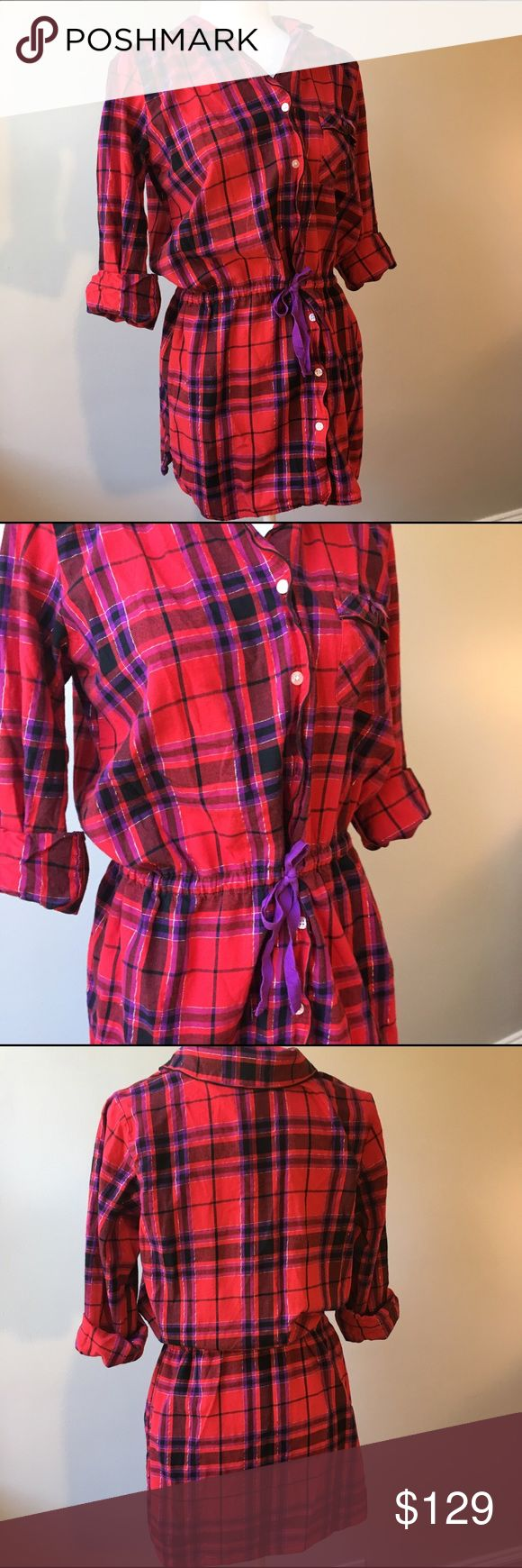 Victoria's Secret Red & Purple Plaid Pajama Robe EUC, long sleeve front button pajama robe in red and purple plaid print. Silver metallic threading throughout. Victoria's Secret print on each button. Cinched waist ties tied by a purple belt (belt is slightly worn). Small petite but can also fit small regular. Victoria's Secret Intimates & Sleepwear Robes