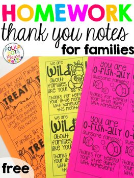 FREE Homework Thank You Notes for Families by Polka Dots Please