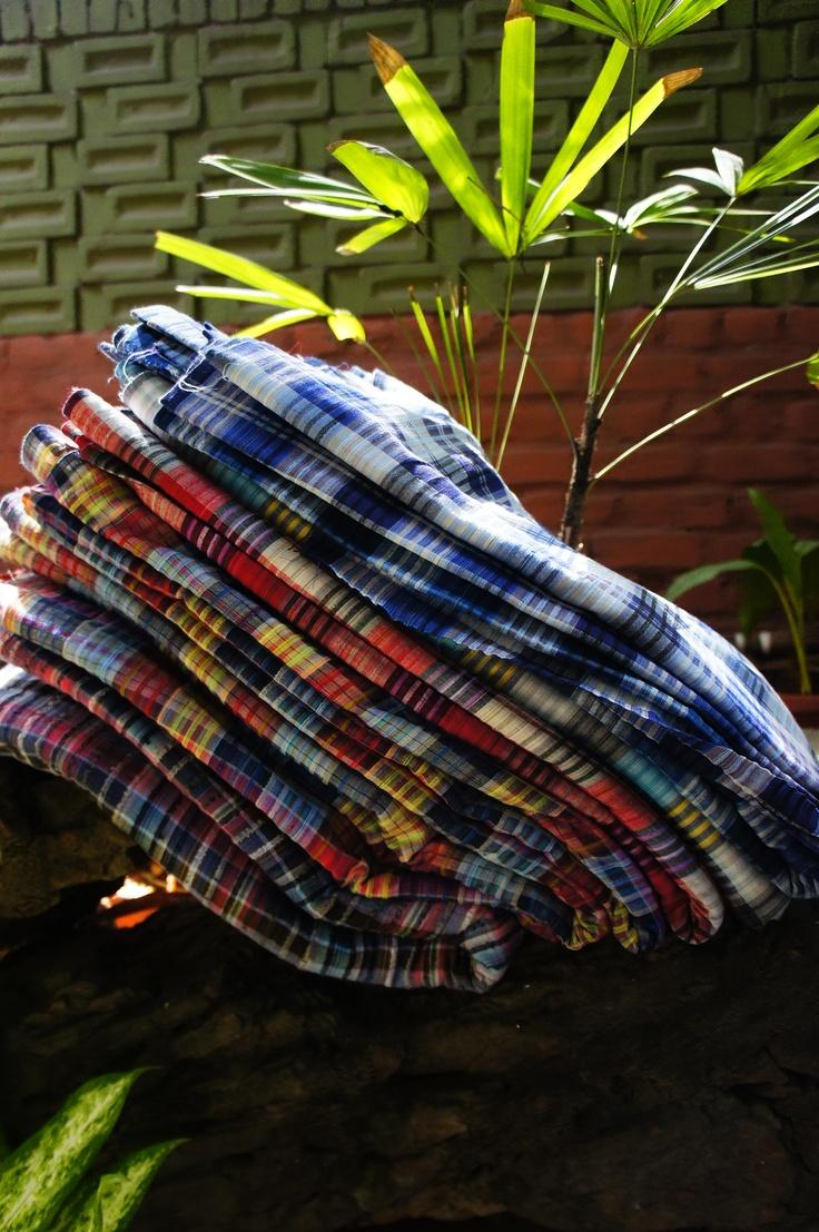 madras checks inspired khadi seersucker fabric.