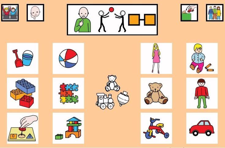 """""""Tablero de comunicación: Juguetes"""". Recopilación de diferentes tableros de comunicación de 12 casillas, organizados por necesidades básicas y centros de interés. Los tableros pueden imprimirse tal como aparecen en los documentos o bien se puede modificar el contenido, la forma, el color, etc., para adaptarlos a las características individuales de cada usuario. Pueden utilizarse también para trabajar distintos repertorios de vocabulario agrupado por temas o categorías."""