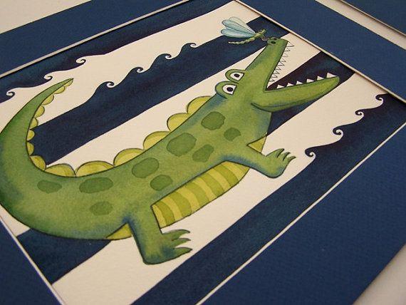 Alligator nursery art alligator bathroom by theprincessandpea