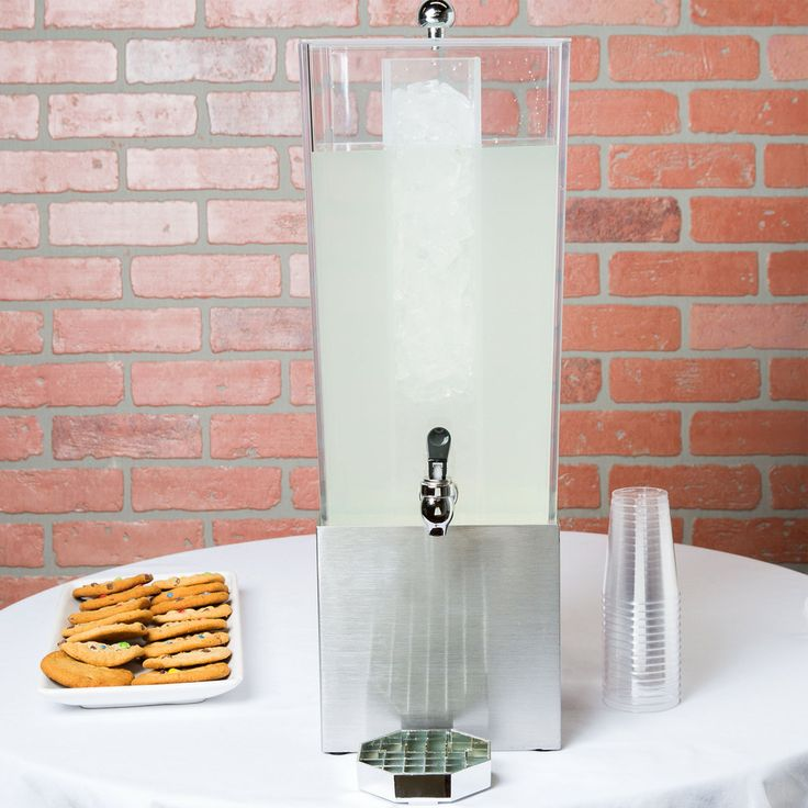 """Cal-Mil 3324-3-55 Econo 3 Gallon Beverage Dispenser with Stainless Steel Base and Ice Chamber - 7 1/2"""" x 9 1/2"""" x 23 1/2"""""""