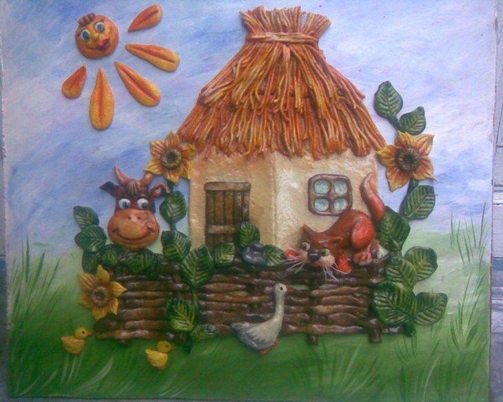 Лепка: украинская хата из соленого теста+много рецептов теста (украинский пейзаж,тесто соленое) ФОТО #1