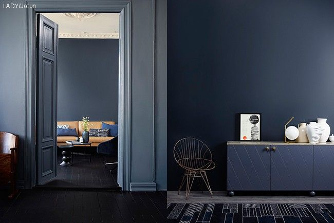 tv: soffa-Deco blue, Kvällshimmel th: Sophisticated blue