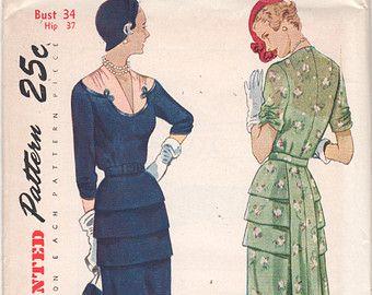 1950s semplicità 3143 Misses V Neck Cocktail DRESS Pattern a forma di carré davanti Tuck arricciato manica Womens Vintage Sewing Pattern busto 34 UNCUT