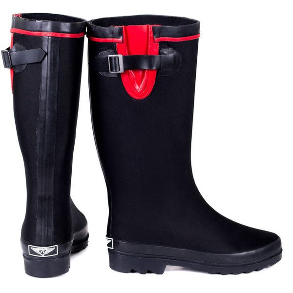 Women's Forever young Heavy rubber Couture rainboots 6 RT ($40) ❤ liked on Polyvore featuring shoes, boots, black, boots & booties, black wellington boots, black rubber boots, rubber boots, wellies shoes and kohl shoes