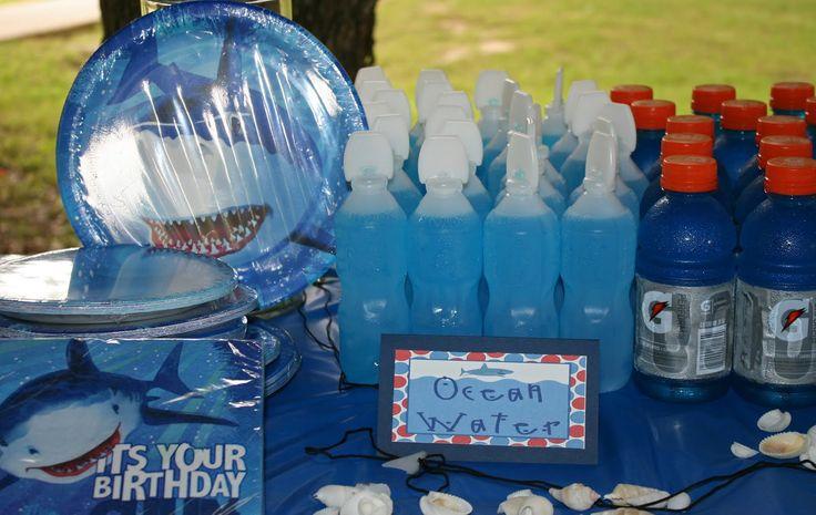 shark birthday party week blue drinks Gatorade plates napkins