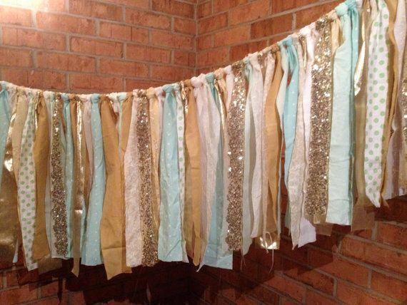 Mint Gold Sequin Fabric Banner Garland - Wedding, Baby Shower, Nursery, Crib Garland, Decorations - Trend Alert