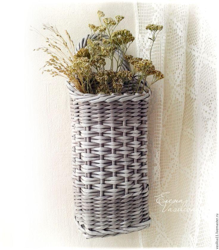 Купить Настенная подвесная корзиночка Зимняя - плетеная корзиночка, на дверь, для цветов, для сухоцветов, настенная, подвесная