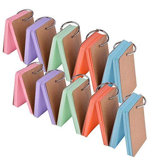 Cehomi 5 Color Flash Cards Index Cards  Multicolor Note