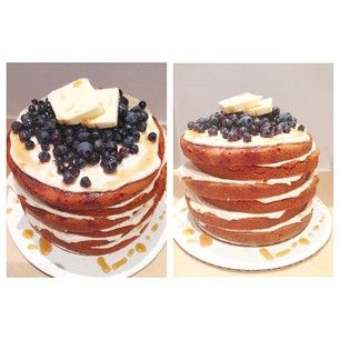 """jump right into a sweet brunch with a maple """"pan""""cake"""