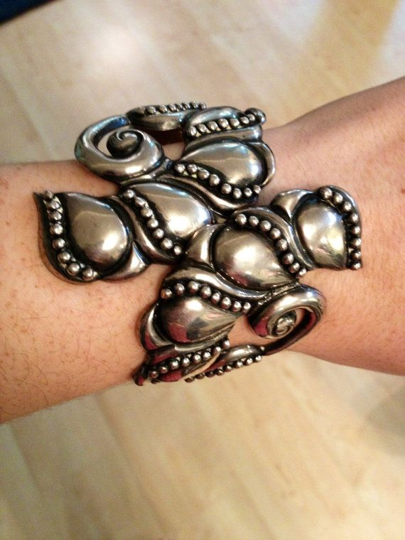 Amazing Vintage Taxco Silver Cuff Bracelet