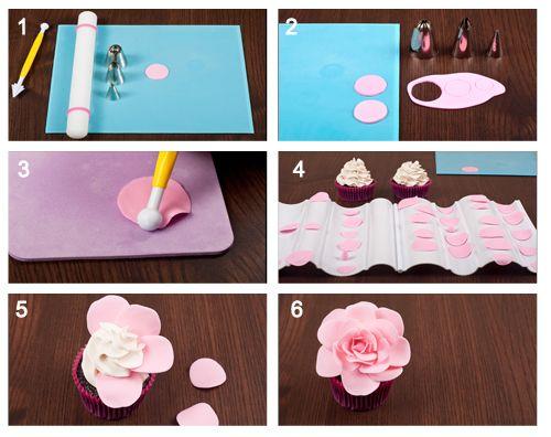 Valentine Rose Cupcakes ~ Tutoria