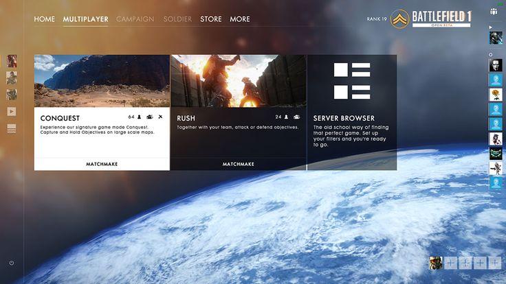 Battlefield 1 - multiplayer screen.