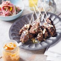 Heston's beef kebab with a spicy tomato sauce